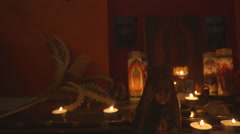 """Mary Our Lady of Guadalupe candles Alter -slider shot Stock Footage"