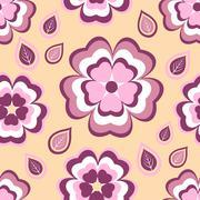 Seamless pattern orange with flowers sakura and leaves - stock illustration
