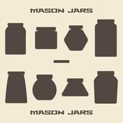 Mason jars  silhouette icons set Stock Illustration