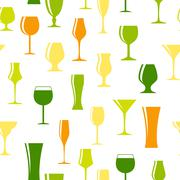 Alcoholic Glass Silhouette Seamless Pattern Background Vector Il Stock Illustration