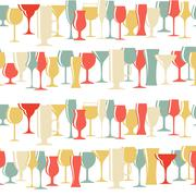 Stock Illustration of Alcoholic Glass Silhouette Seamless Pattern Background Vector Il