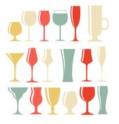 Stock Illustration of Set of Black Alcoholic Glass Silhouette Vector Illustration EPS1
