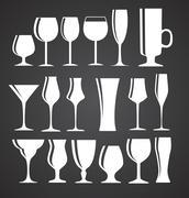 Set of Black Alcoholic Glass Silhouette Vector Illustration EPS1 - stock illustration