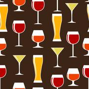 Alcoholic Glass Silhouette Seamless Pattern Background Vector Il - stock illustration