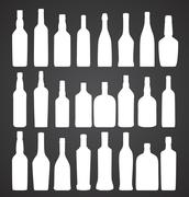 Vector Illustration of Silhouette Alcohol Bottle - stock illustration