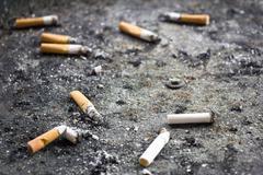 Dirty ashtray - stock photo