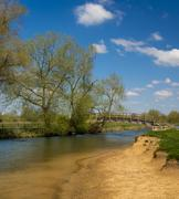 Wooden Bridge over the River Thames at Lechlade - stock photo