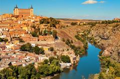panoramic view of Toledo, Spain, and the Tagus river - stock photo