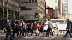 People crossing the street in Manhattan Stock Footage