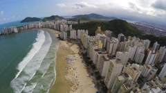 Aerial view of a famous Beach on a Summer Day in Brazilian Coastline Stock Footage