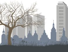 Nature, the old and new city - stock illustration