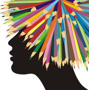 Profile of a girl and crayons Stock Illustration