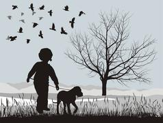 Puppy and boy in the winter Stock Illustration