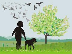 Puppy and boy in the spring Stock Illustration