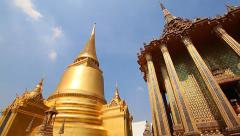 Wat Phra Kaew Famous Temple Of the Emerald Buddha Bangkok, Thailand (pan shot) - stock footage