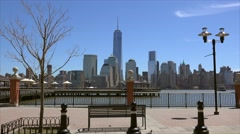 View of Lower Manhattan from the J. Owen Grundy Park at Jersey City. Stock Footage