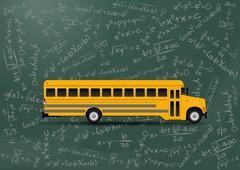 Illustration of yellow school bus with algebraic equations Stock Illustration