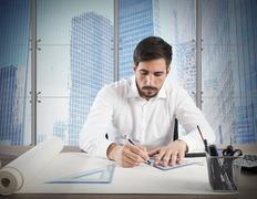 Architect designs - stock photo