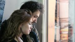 Couple is having tender and romantic moments near the window: couple in love Stock Footage