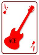 Red Horned Guitar Ace - stock illustration