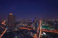 Beautiful city scape dusky with blue sky of bangkok sky scrapper scene one of Stock Photos