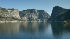 4K Yosemite Hetch Hetchy 04 Wapama Falls Dam at low water level Stock Footage
