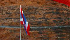 Thai National Flag in a Patriotic Presentation in Ayutthaya Stock Footage