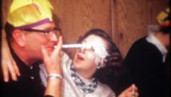 2023 - New Years Eve house party with family & friends - vintage film home movie Stock Footage