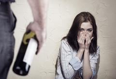Woman victim of domestic violence and abuse. Stock Photos