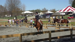 Virginia young girl horse jumping families at arena 4K Stock Footage