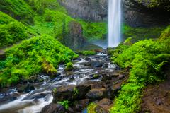 Latourell Falls, at Guy W. Talbot State Park, in the Columbia River Gorge, Or Stock Photos