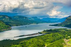 Stock Photo of View of the Columbia River from the Vista House, at the Columbia River Gorge,