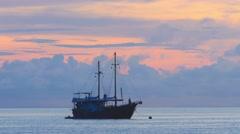 Sailboat at anchor Stock Footage