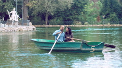 Couple in love on the rowboat Stock Footage