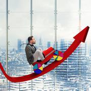 Driving uphill arrow Stock Illustration