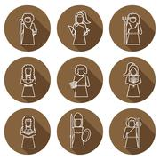 Set of hand drawn icons with Greek gods - stock illustration