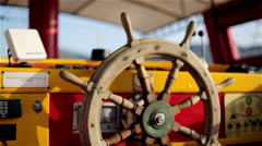 Steering wheel yachts Stock Footage