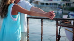 Guy with the girl.A romantic travel by the ship. Stock Footage