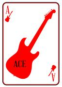 Stock Illustration of Red Curvy Guitar Ace