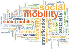 Social mobility wordcloud concept illustration Stock Illustration
