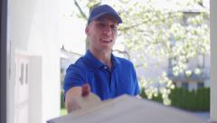 Delivery guy customer POV Stock Footage