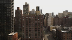 Fantastic aerial shot of New York street canyon - stock footage