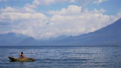 Hispanic fisherman on lake Atitlan Stock Footage