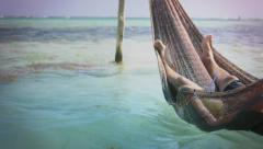 Man in hammock Stock Footage