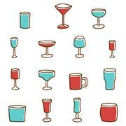 Set of  hand drawn alcohol glasses - stock illustration