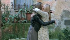 mother and daughter rejoice for a good news: happy family portrait - stock footage