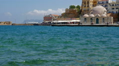 Chania Port with Mosque of the Janissaries Stock Footage