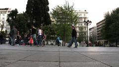 People walking in the square: time lapse footage in Athens Stock Footage