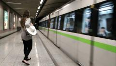 Arrival of the metro in the subway station of Athens Stock Footage