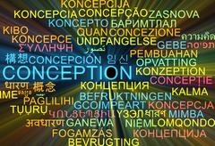 Conception multilanguage wordcloud background concept glowing - stock illustration